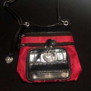 Brighton style cross body red & black heart purse